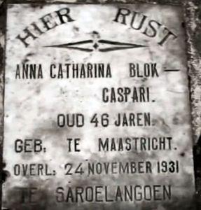 Grafsteen mevrouw A.C. Blok-Caspari te Djambi